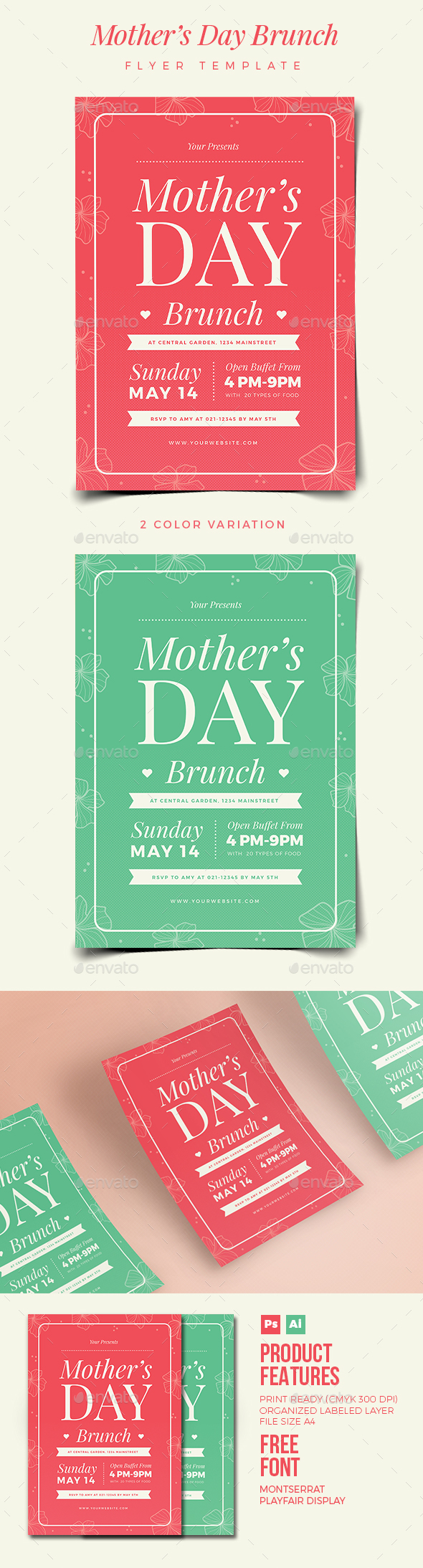 Mothers Day Brunch Flyer 02 - Holiday Greeting Cards