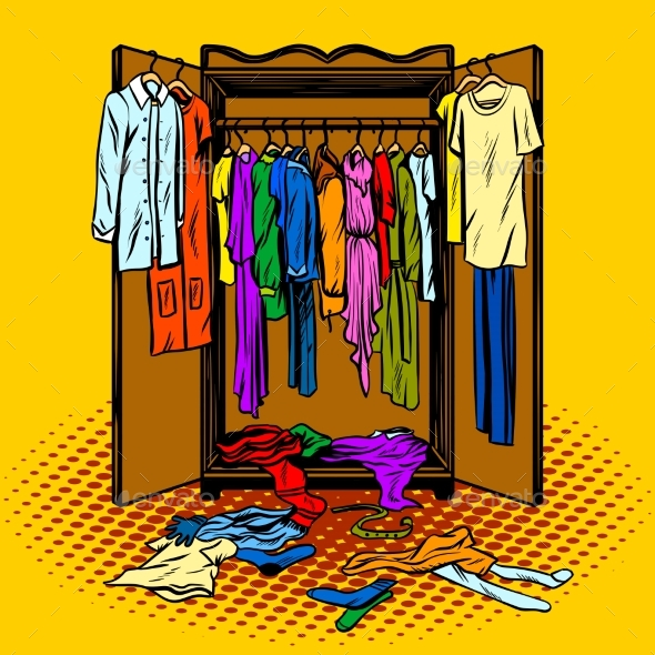 Clothes in a Wardrobe Comic Book Style Vector - Objects Vectors