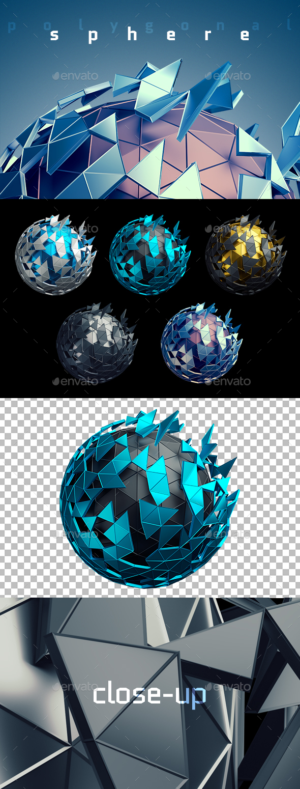 Abstract Low Poly Spheres, 3D Renders - Abstract 3D Renders