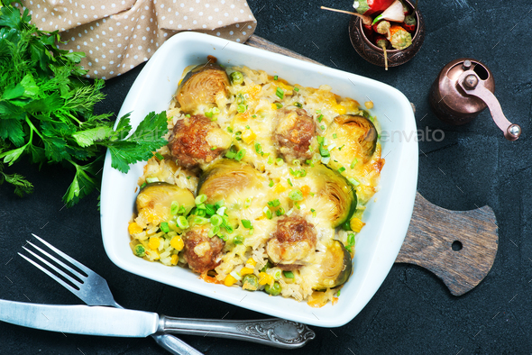 vegetables with meatballs - Stock Photo - Images