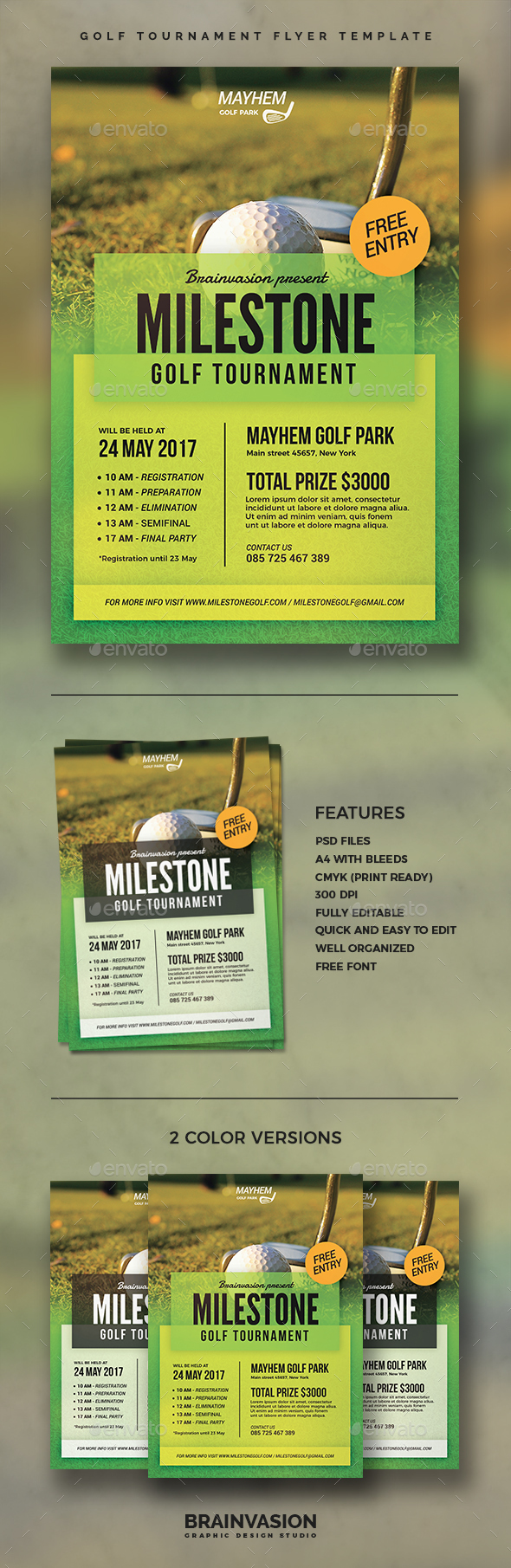 Golf Tournament Flyer Template - Sports Events