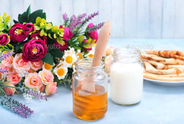 honey and milk - Stock Photo - Images