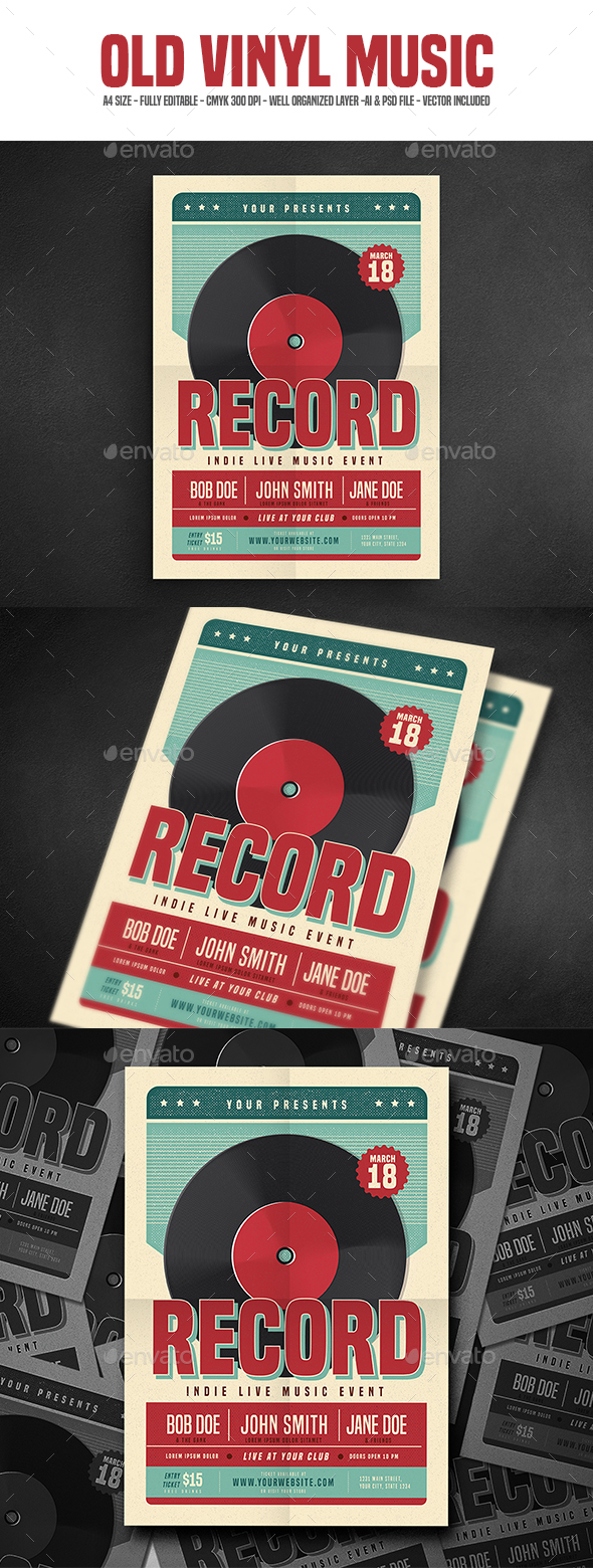 Retro Vinyl Music Flyer - Events Flyers