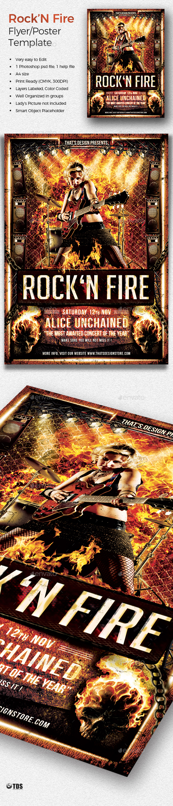 Rock' N Fire Live Flyer Template - Concerts Events
