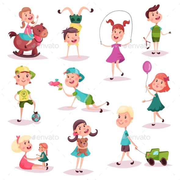 Kids at Playing with Toys and Soccer Ball - People Characters