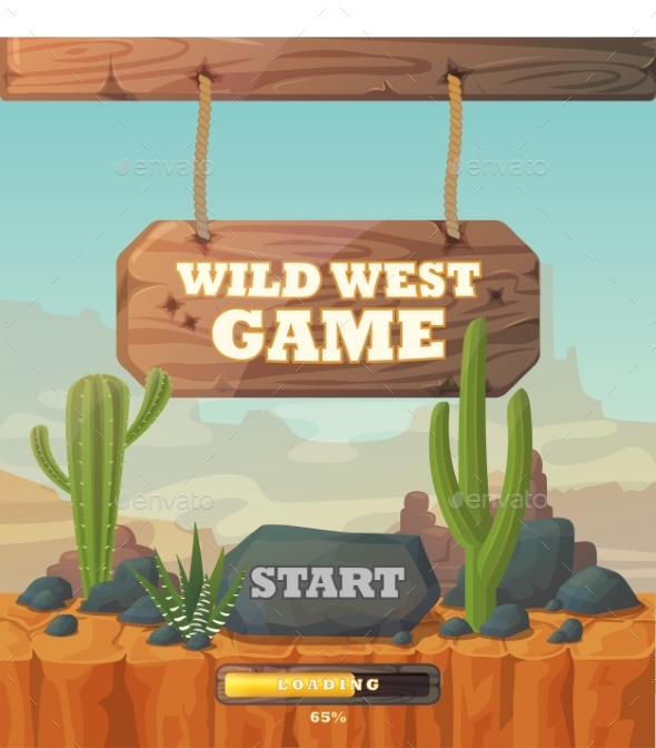 Start Screen for Wild West Web or Mobile Game - Objects Vectors