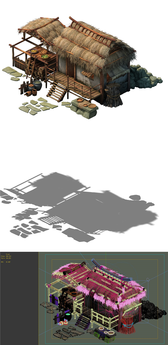Game Model - Thatched Cottage 02 - 3DOcean Item for Sale