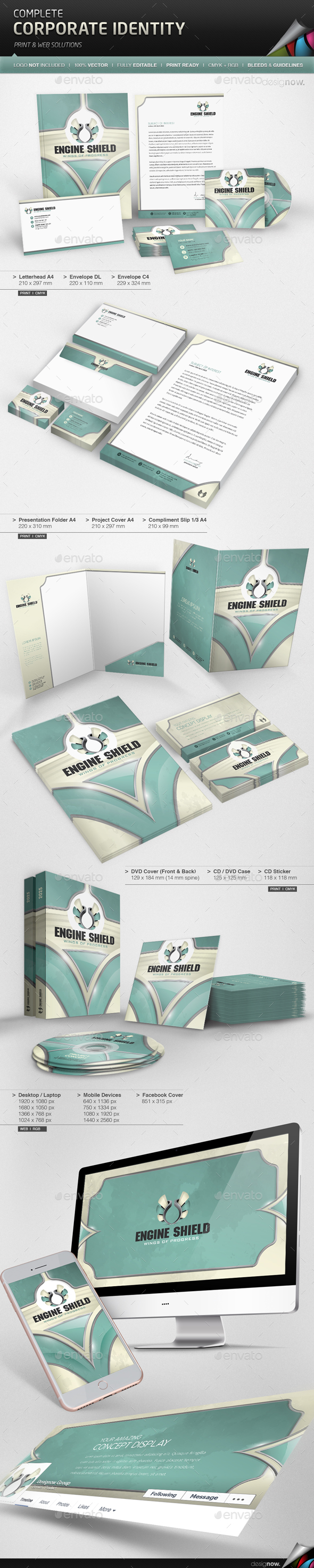 Corporate Identity - Wings Shield - Stationery Print Templates