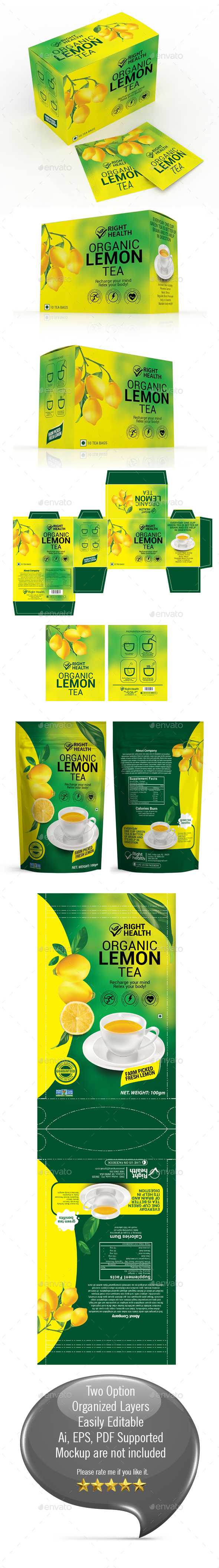 Lemon Tea Packaging Templates - Packaging Print Templates