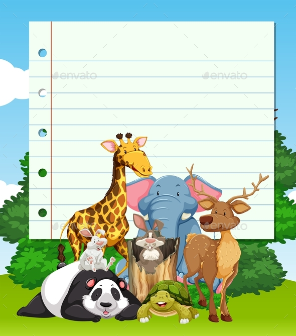 Border Design with Many Wild Animals - Animals Characters