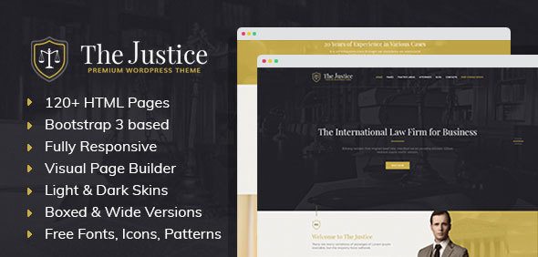 Justice - HTML template with Visual Page Builder for Advocate, Barrister, Attorney, Law Firm