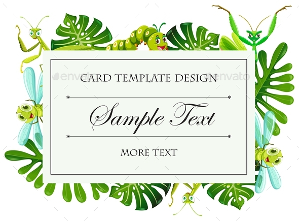 Card Template with Insects and Leaves Frame - Miscellaneous Conceptual
