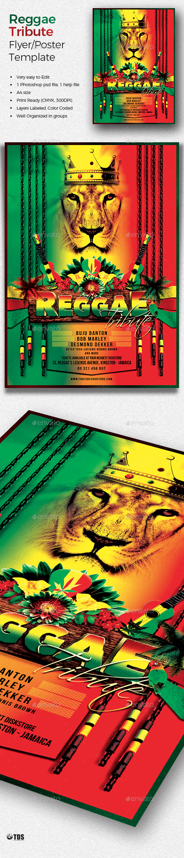 Reggae Tribute Flyer Template by lou606 | GraphicRiver