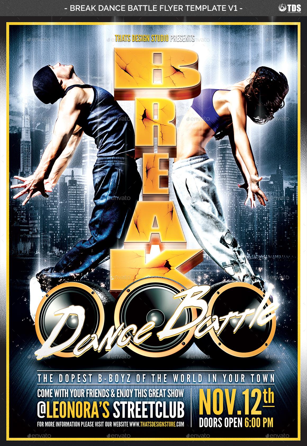 Break Dance Battle Flyer Template V1 by lou606 | GraphicRiver