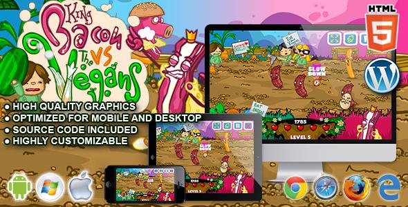 King Bacon vs Vegans - HTML5 Arcade Game - CodeCanyon Item for Sale