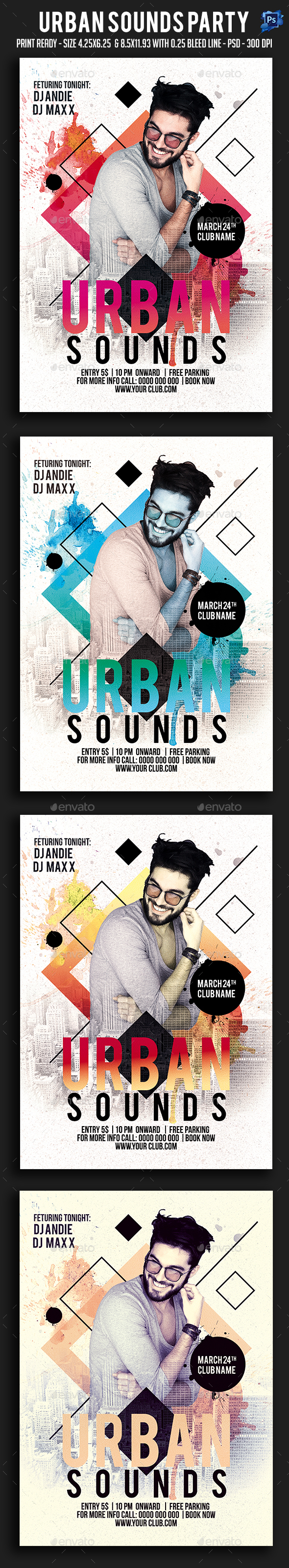 Urban Sounds Party Flyer - Clubs & Parties Events