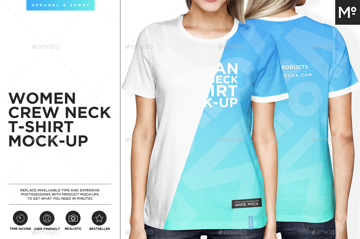 Woman crew neck t shirt mock up by mocca2go graphicriver for Mock crew neck shirts