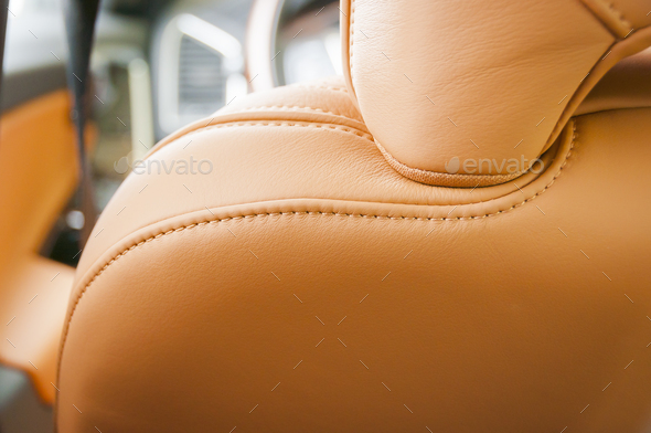 Red leather car interior - Stock Photo - Images