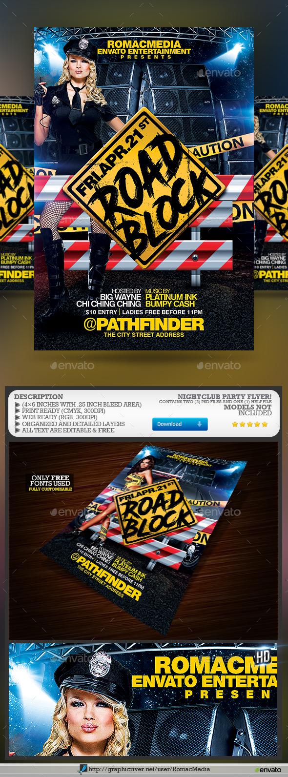 Road Block Party Flyer - Clubs & Parties Events