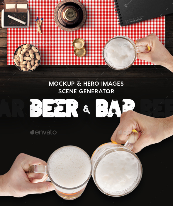 Beer & Bar Mockup & Hero Images Scene Generator - Hero Images Graphics