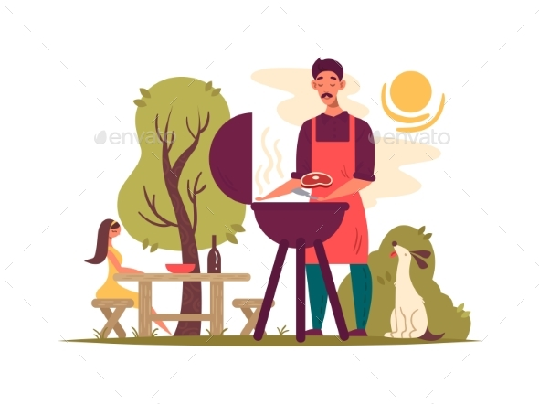 Man Preparing Barbecue on Grill - People Characters