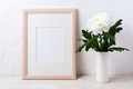 Wooden frame mockup with white chrysanthemum in vase - PhotoDune Item for Sale