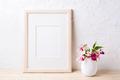Wooden frame mockup with purple wildflowers in flowerpot - PhotoDune Item for Sale