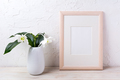 Wooden frame mockup with tender white lily in vase - PhotoDune Item for Sale