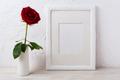 White frame mockup with dark red rose in vase - PhotoDune Item for Sale