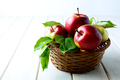 Fresh red apples in the wicker basket - PhotoDune Item for Sale