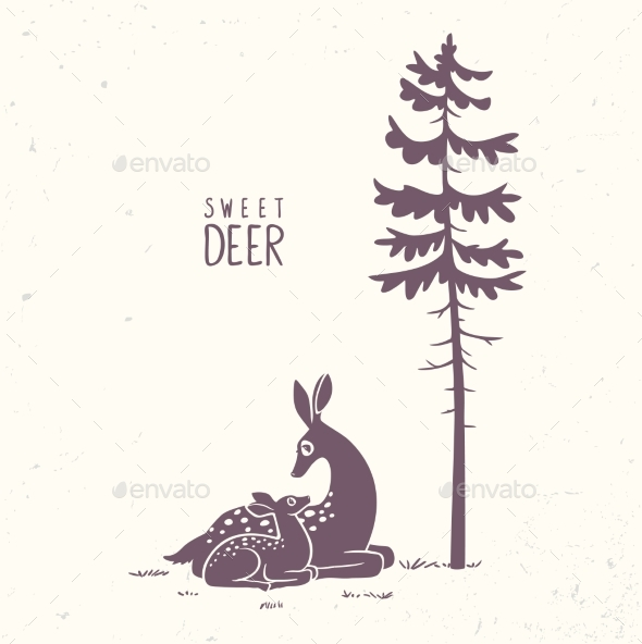 Deer Fawn Silhouette - Animals Characters