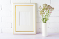 Gold decorated frame mockup with pink flowers in cylinder vase - PhotoDune Item for Sale