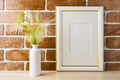 Gold decorated frame mockup with ornamental grass exposed brick - PhotoDune Item for Sale