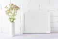 White landscape frame mockup creamy pink flowers in cylinder vas - PhotoDune Item for Sale