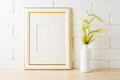 Gold decorated frame mockup with yellow green wild grass ears - PhotoDune Item for Sale