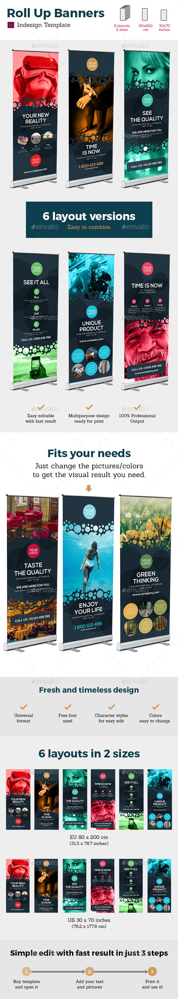 Rollup Stand Banner Display Bubble 12x Indesign Template - Signage Print Templates