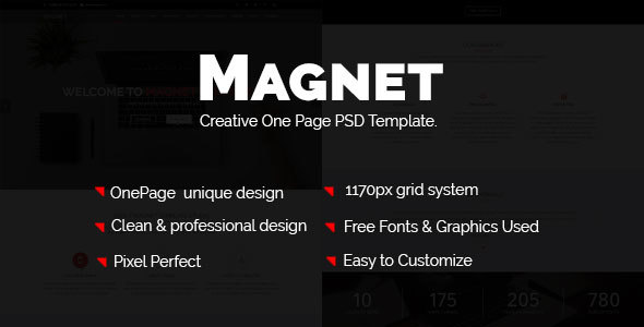 Magnettheme – Business One Page PSD Template.