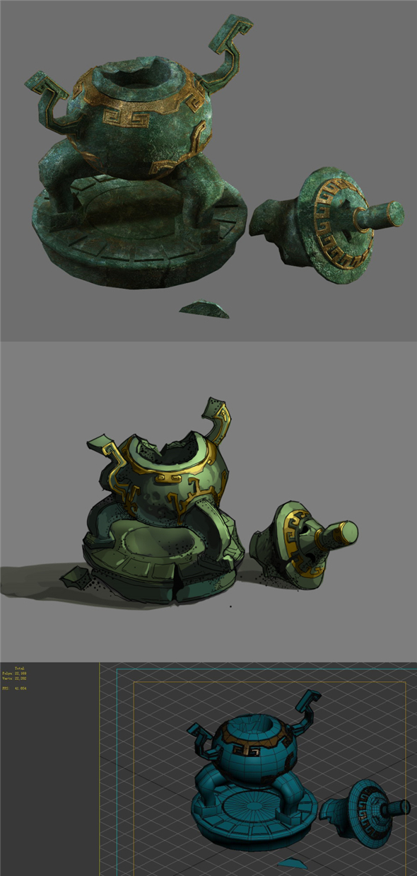 Game Model - Broken Bronze Device 2 - 3DOcean Item for Sale