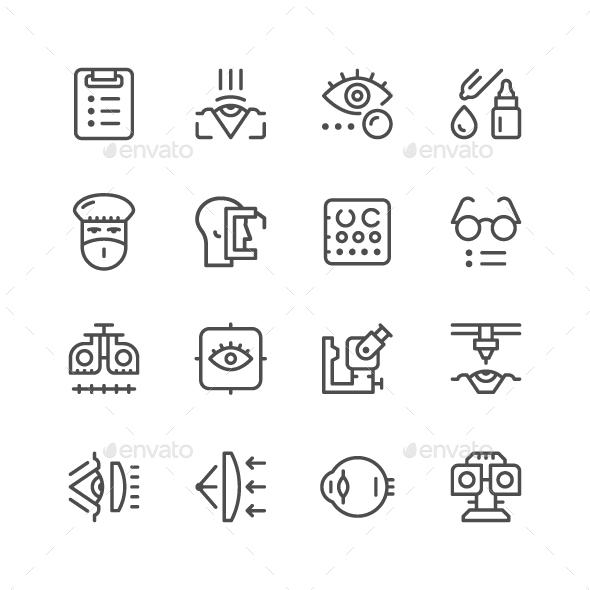 Set Line Icons of Ophthalmology - Man-made objects Objects