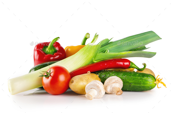 Still life of fresh raw vegetables - Stock Photo - Images