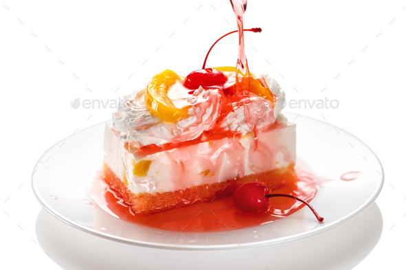 Cake with white cream and trickle of syrup - Stock Photo - Images