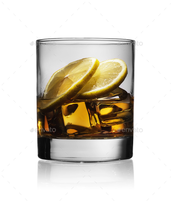 Cocktail with the whiskey lemon and ice - Stock Photo - Images