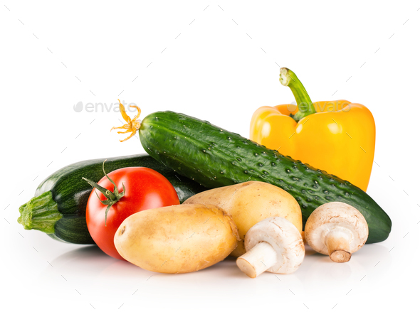 Still life of fresh raw healthy vegetables - Stock Photo - Images