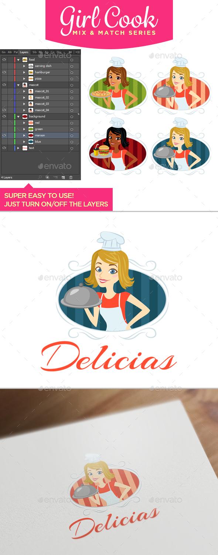 Girl Cook - Mix & Match Series - Food Logo Templates