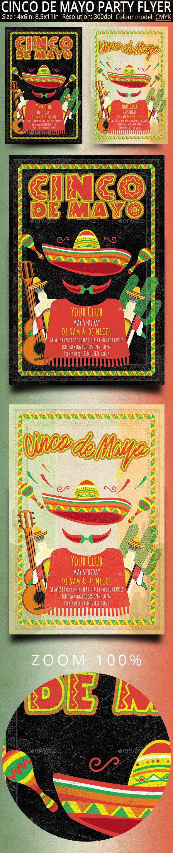 Cinco de Mayo Retro Vintage Flyer - Clubs & Parties Events