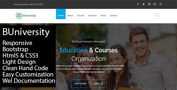 BUniversity One Page Education Template