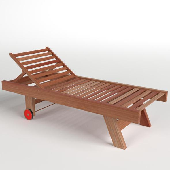 Wooden Sun Lounger 1 - 3DOcean Item for Sale