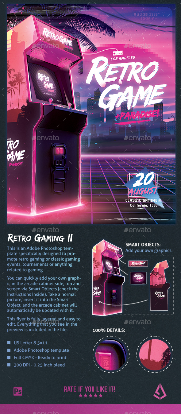 retro gaming flyer ii classic gaming template poster by stormdesigns