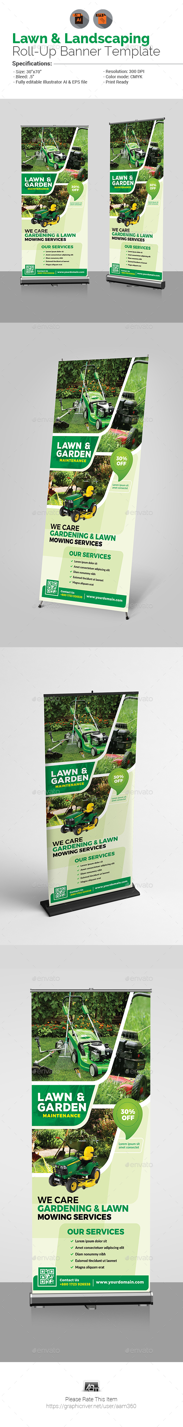 Lawn & Landscaping Roll-Up Banner - Signage Print Templates