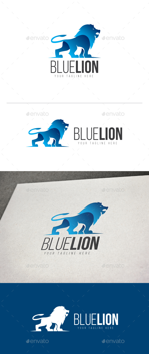 Blue Lion Logo - Animals Logo Templates
